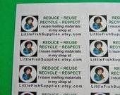 60 PERSONALIZED Go Green Labels. 2 Sheets of White 1-Inch Labels. 2586