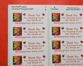30 PERSONALIZED Thank You White 1-Inch Labels. 1564