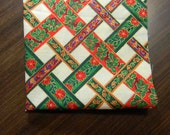 Fabric Destash. Ivory Background with Red and Green Ribbon Screen Print with Gold Outlines. 2510