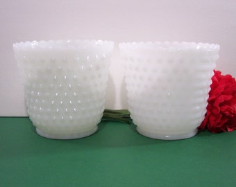 Two White Milk Glass Hobnail Bowls /Vases /Planters /Candy Dishes /Candle Holders. Vintage. 5031