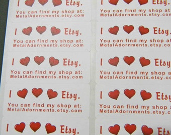 30 PERSONALIZED I Heart Etsy Labels. 1 Sheet of White 1-Inch Labels. COLOR. 5297