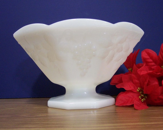 Large Milk Glass Footed Compote Bowl By Yesterdaysmemories09