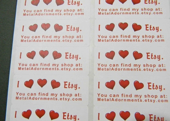 60 PERSONALIZED I Heart Etsy Labels. 2 Sheets White 1-Inch Labels. COLOR 2465