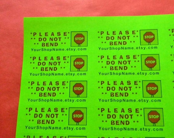 30 PERSONALIZED Do Not Bend Labels. 1 Sheet of Neon Green 1-Inch Labels. Color. 2581