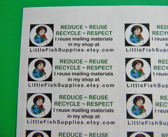 30 PERSONALIZED Go Green Labels. 1 Sheet White 1-Inch Labels. 2938