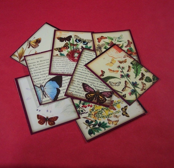 16 Butterfly Thank You Cards or Gift Tags. 2 SETS of 8 Butterfly Cards. 2872