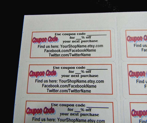 30 PERSONALIZED Facebook, Twitter, Coupon Code Labels. 1 Sheet White 1-Inch Labels. 2827