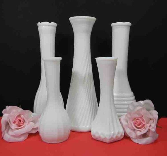 5 Milk Glass Bud Vases. Ribbed Designs. 5-Vase White Milk Glass Wedding Collection. 2505