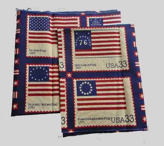 2 Panels of Fabric. Theme is 33 Cent American Flag Stamps. Navy Blue 100% Cotton. Destash. 2579