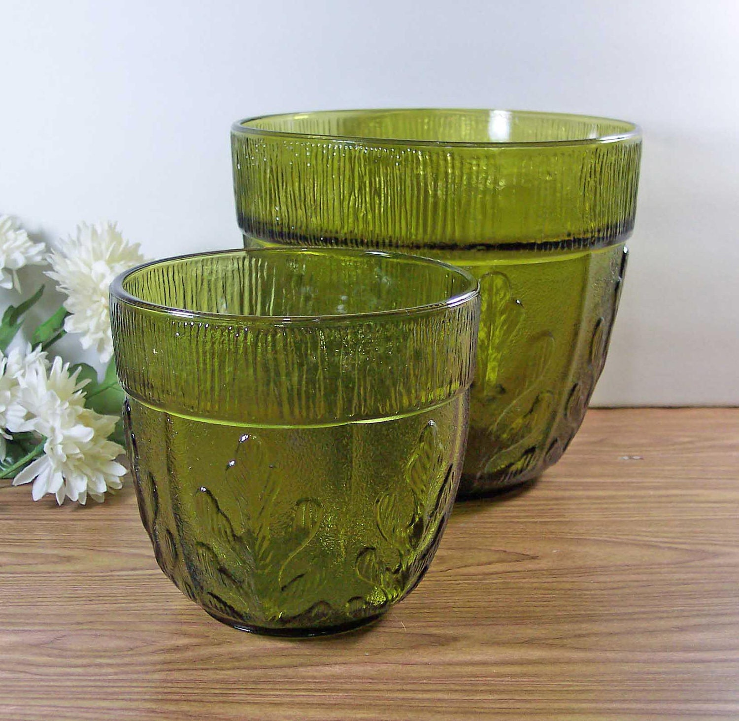 Avocado glass vases planters centerpieces bowls fern