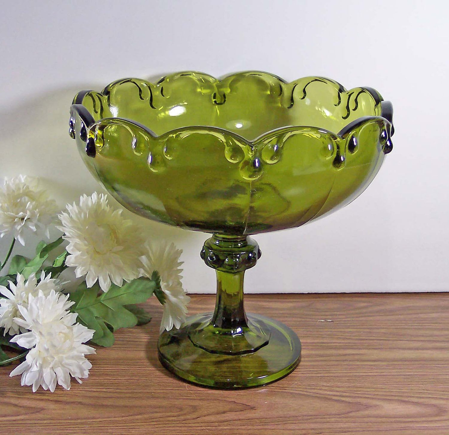 Avocado Green Glass Compote Pedestal Bowl Footed