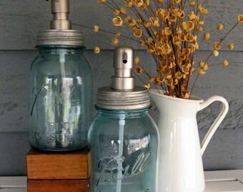 Blue Mason Jar Quart Soap Dispenser with Stainless Steel Pump