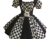 Harlequin Dress Womens Halloween Costume Circus Clown Mardi Gras Dress Adult Costume Black and White Check Checkered Custom Size Plus
