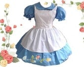 Alice in Wonderland Halloween Costume Gothic Lolita Dress and Apron Blue and White 4X