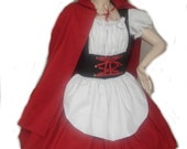 Little Red Riding Hood - Halloween Costume - Dress and Cape - Red White Black - High Quality Costume - Custom Size including Plus Sizes