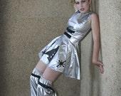 Sci Fi Costume - Space Cadet Mini Dress - Barbarella Minidress - Silver Vinyl Dress and Leggings - Halloween Costume - Custom Size