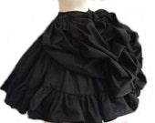 Black Steampunk Skirt Bustle Ruffled Victorian Lolita Gothic Bustled Loli Goth Custom Size Made to Measure Plus