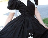 Witch Costume Halloween Witch Cute Salem Witch Black and White Cotton Dress Womens Small medium large