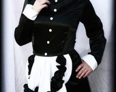 Long French Maid Corset Hobble Skirt Dress Gown Halloween Costume Womens Small
