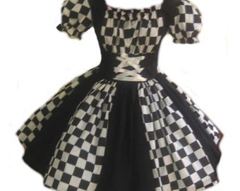 Harlequin Dress  Halloween Costume Circus Clown Mardi Gras Black and White Check Checkered Dress Handcrafted High Quality Womens S M L
