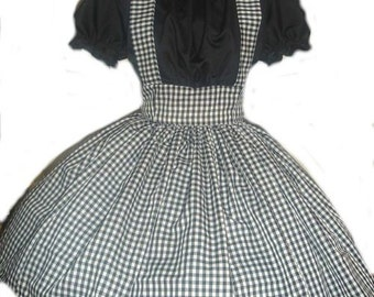 Gothic Dorothy Wizard of Oz Black Gingham Dress Halloween Costume Custom Size Made to Measure including Plus Sizes