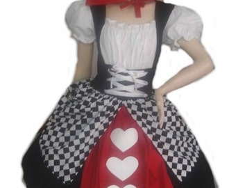 Queen of Hearts Alice in Wonderland Halloween Costume Red Black White Dress and Collar Custom Size including Plus Sizes Fancy Dress Costume