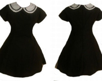 Gothic Lolita A line Little Black Dress Short Dress Minidress with Cap Sleeves White Peter Pan Collar Custom Size including Plus Size