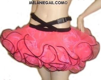 Tutu Skirt -  Holster Skirt - Cyber Skirt - Rave Skirt - Goth Skirt -  Pin up Skirt -  Burlesque Skirt - Hot Pink and Black - Custom Size