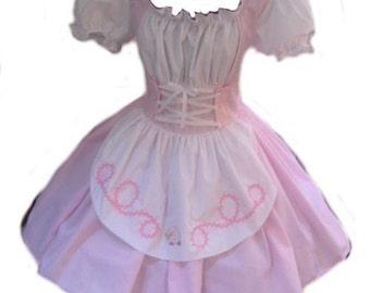 Little Bo Peep Halloween Costume Pink and White Dress Mary Had a Little Lamb Womens Adult Girls Handmade Costume Custom Size Plus