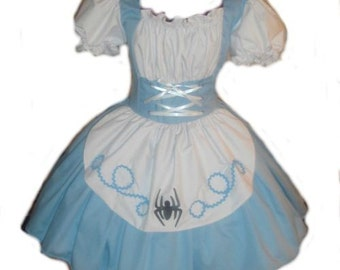 Halloween Costume Womens Little Miss Muffet Dress Storybook Fairytale Costume Blue White Handmade Custom Made to Measure including Plus Size