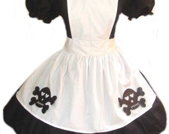 Goth Alice in Wonderland Dress  Gothic Alice Costume Black Dress  White Apron Womens Adults Halloween Costume Custom Size including Plus