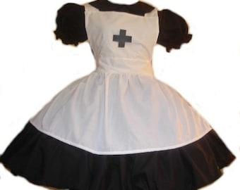 Gothic Nurse Dress Goth Lolita Black Dress White Apron Cosplay Costume Halloween Womens Adult High Qualilty Handmade Custom Size Plus