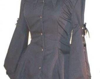 Jacket Gothic Jacket Black Goth Jacket Bat Hem Corset Jacket Lolita Goth Loli Custom Size Plus Size Made to Measure