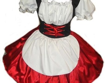 Womens Girls Heidi Halloween Costume German Barmaid Swiss Maid Oktoberfest Dress Handmade Custom Size Made to Measue including Plus Size