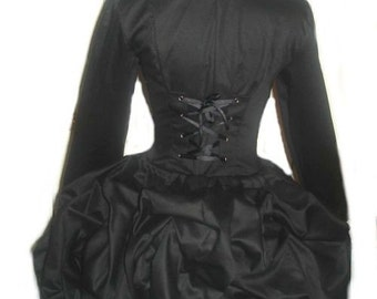 Black Steampunk Jacket Goth Loli Military Bustle Corset Jacket Lolita Gothic Victorian Unique Womens Custom Size including Plus Sizes