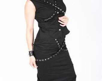 Black Pencil Skirt and Mandarin Collar Top with Buckled Grommet Straps Gothic Fetish Goth Custom Size Made to Measure Plus Size
