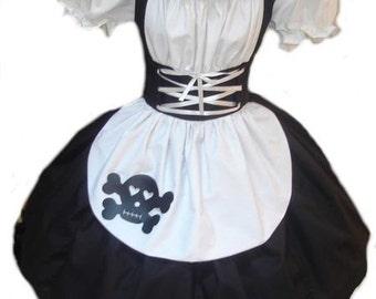 Gothic Maid Halloween Costume Goth Dolly Evil Dolly Doll Dress Black Skull Womens Adults High Quality Handmade Custom Size  Plus Sizes