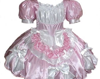 Satin Swiss Maid Little Bo Peep Sissy Bows Dress Womens Adults Halloween Costume Pink and White Custom Size including Plus Size