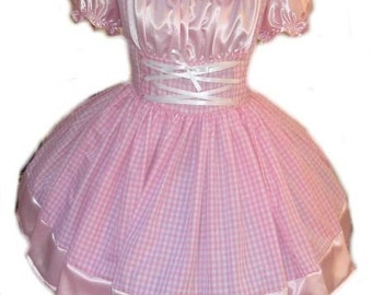 Cute Heidi Halloween Costume Swiss Miss Maid Sissy Dress Pink Gingham and Satin Made to Measure Custom Size including Plus Size