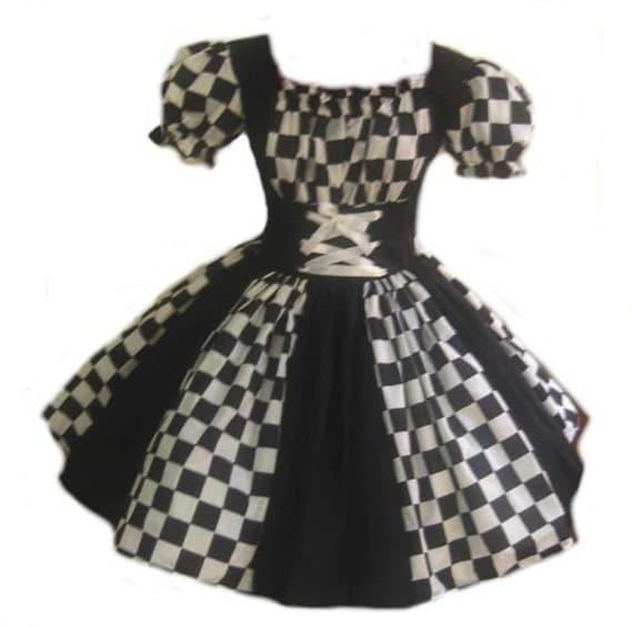 Womens Harlequin Dress Halloween Costume Black and White Custom Size