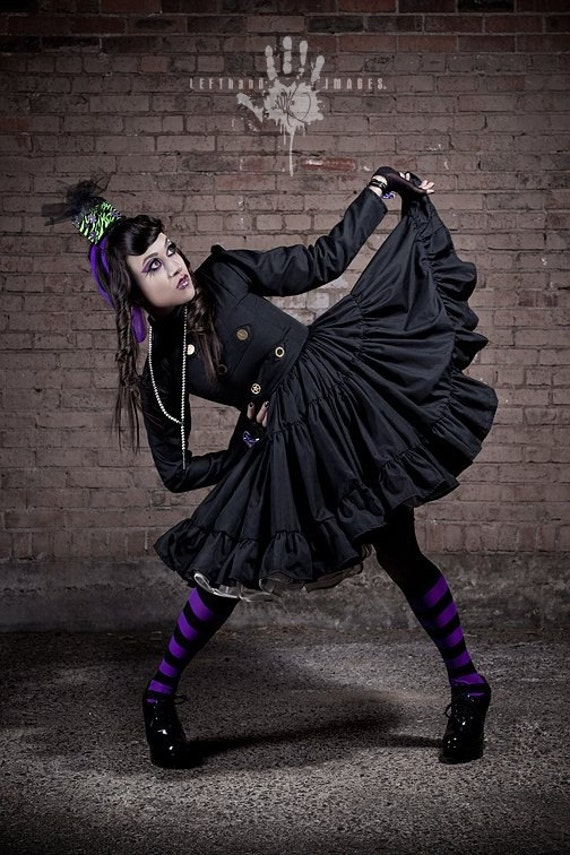 Steampunk Dress Steam Punk Lolita Gothic Black Military Dress with Full Ruffled Skirt Cosplay Custom Size including Plus  Made to Measure