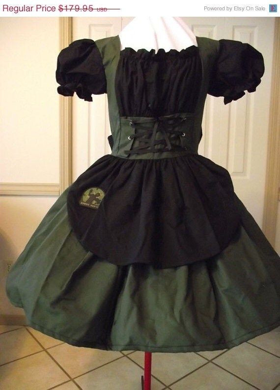 SALE 50% Off One Day Only Zombie Hunter Cute Kawaii Gothic Lolita Zombie Hunter Dress Green and Black Custom Made