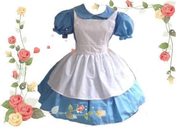 CLEARANCE SALE 50% Off Alice in Wonderland  Dress and Apron Womens LAST 3X Blue and White Costume