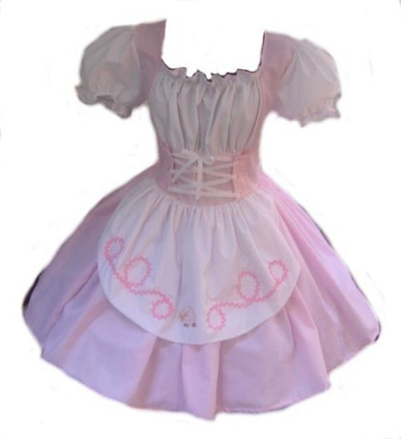 Little Bo Peep Dress Costume Womens Large L Pink and White Cute Kawaii