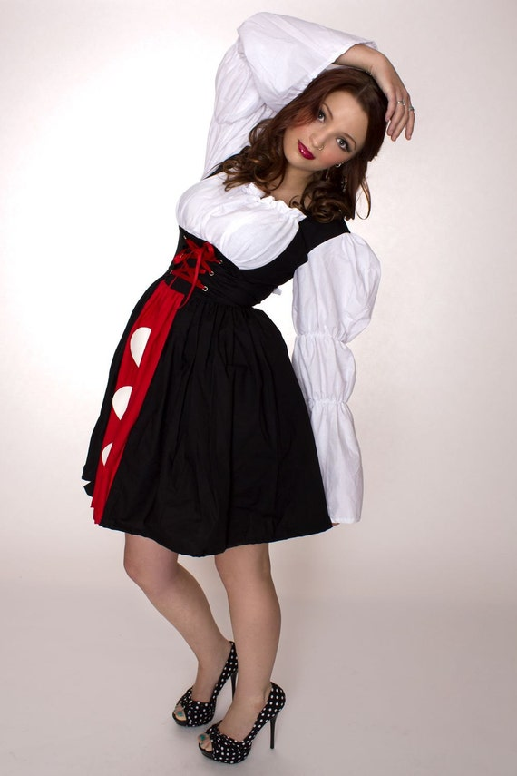 Queen of Hearts Dress Alice in Wonderland Womens Adult High Quality Handmade Halloween Costume Custom Size Plus Size Made  to Measure