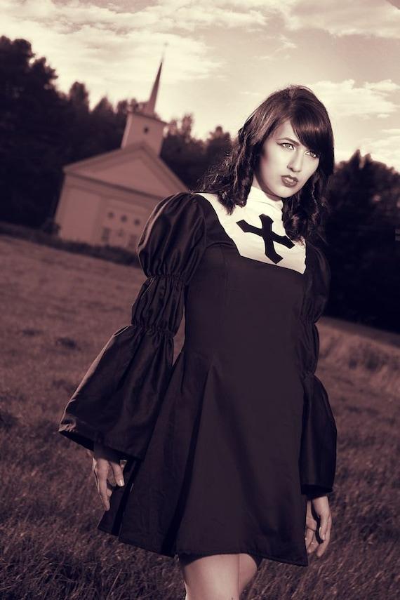 Gothic Lolita Nun Dress Black Goth Loli Nun Dress Cosplay Costume Womens 2 4 6 8 10 or 12 Halloween