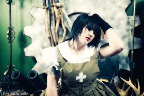 Steampunk Post Apocalyptic Zombie Army Military Nurse Dress and Apron Gothic Lolita Womens Custom Size Plus Size White Green