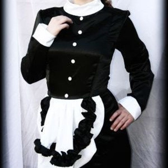 French Maid Corset Hobble Skirt Dress Gown Sissy Floor length Dress