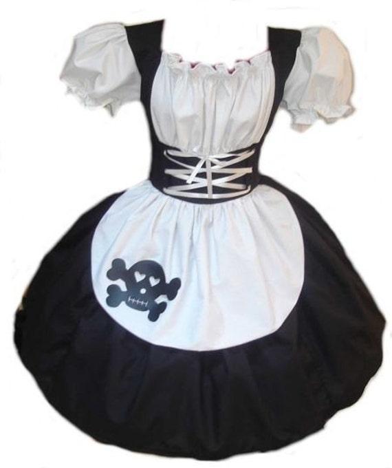 Gothic Maid Halloween Costume  Goth Dolly Evil Doll Dress Black Skull Dress Womens Adults High Quality Handmade  Custom Size  Plus Sizes