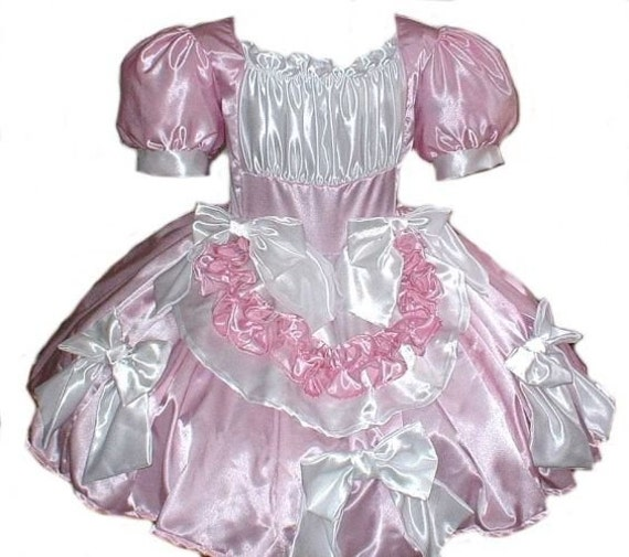 Satin Swiss Maid Little Bo Peep Sissy Bows Dress Womens Adults